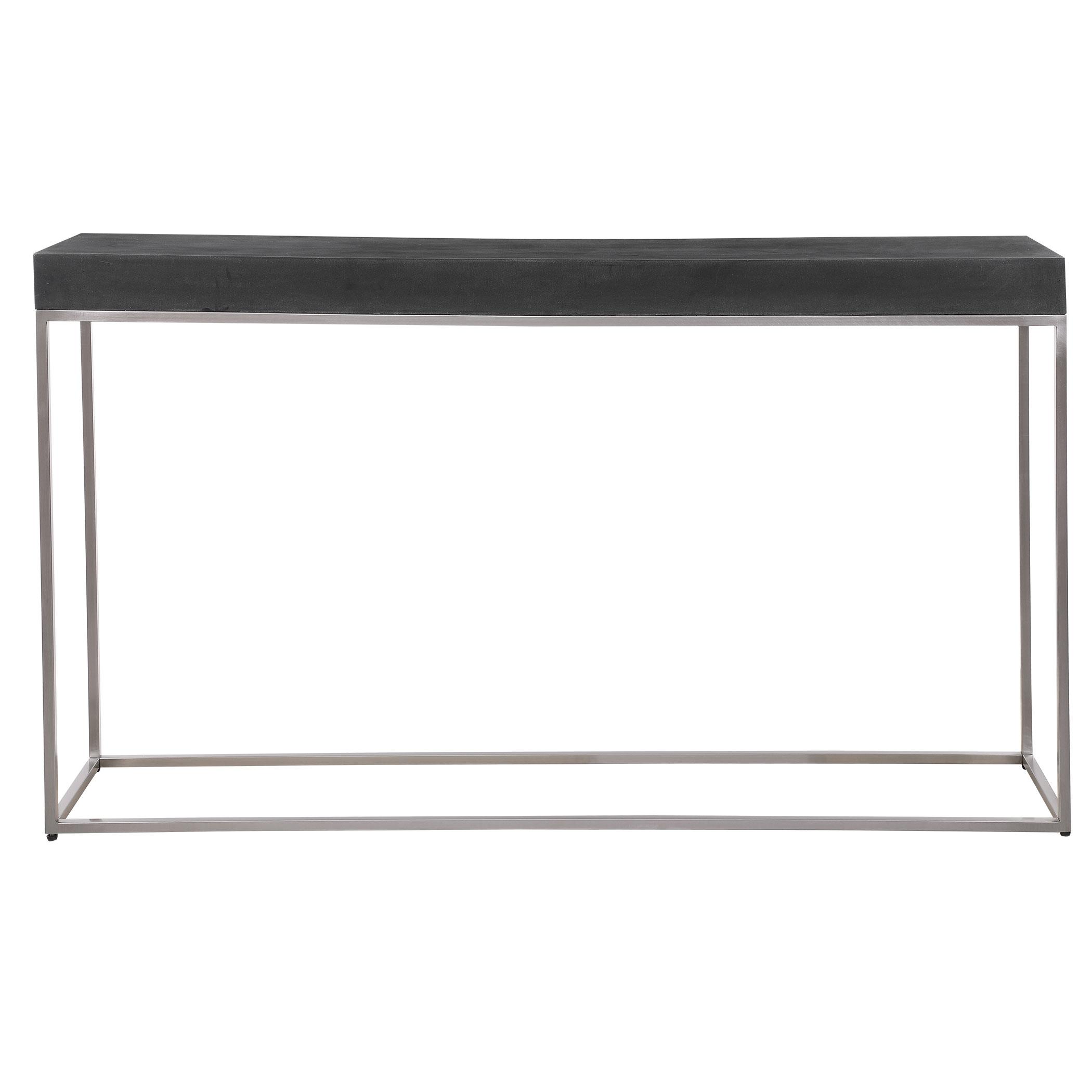 Modern Minimalist Black Concrete Silver Console Table 54 in