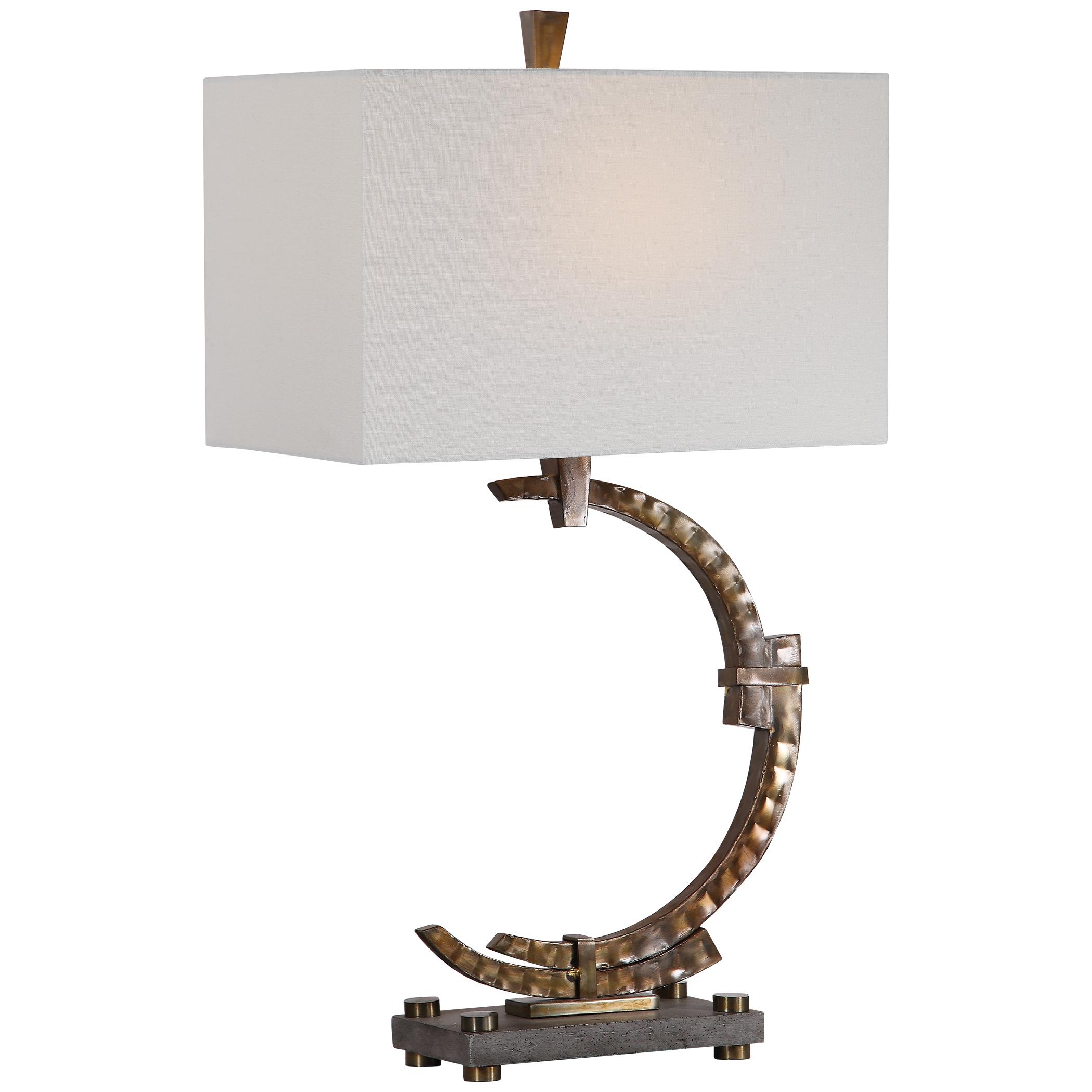 Modern Industrial Hammered Bronze Metal Table Lamp ...
