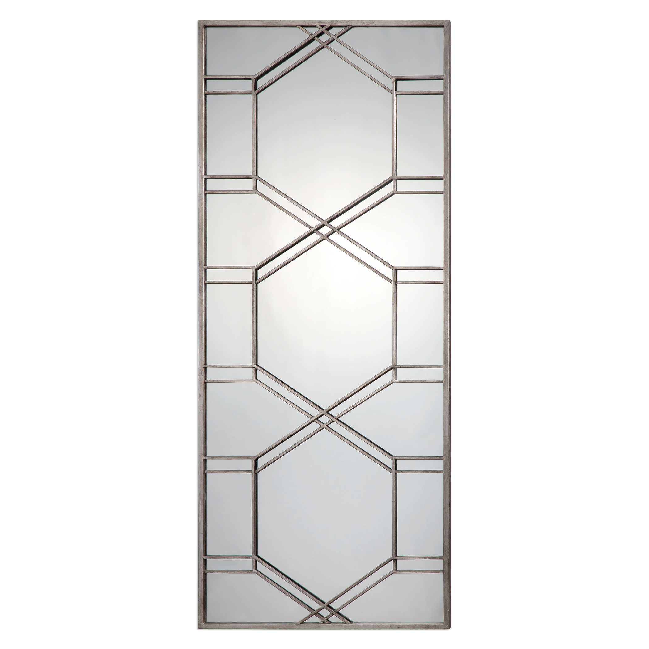 """Geometric Silver Overlay Oversize 70"""" Wall Mirror 