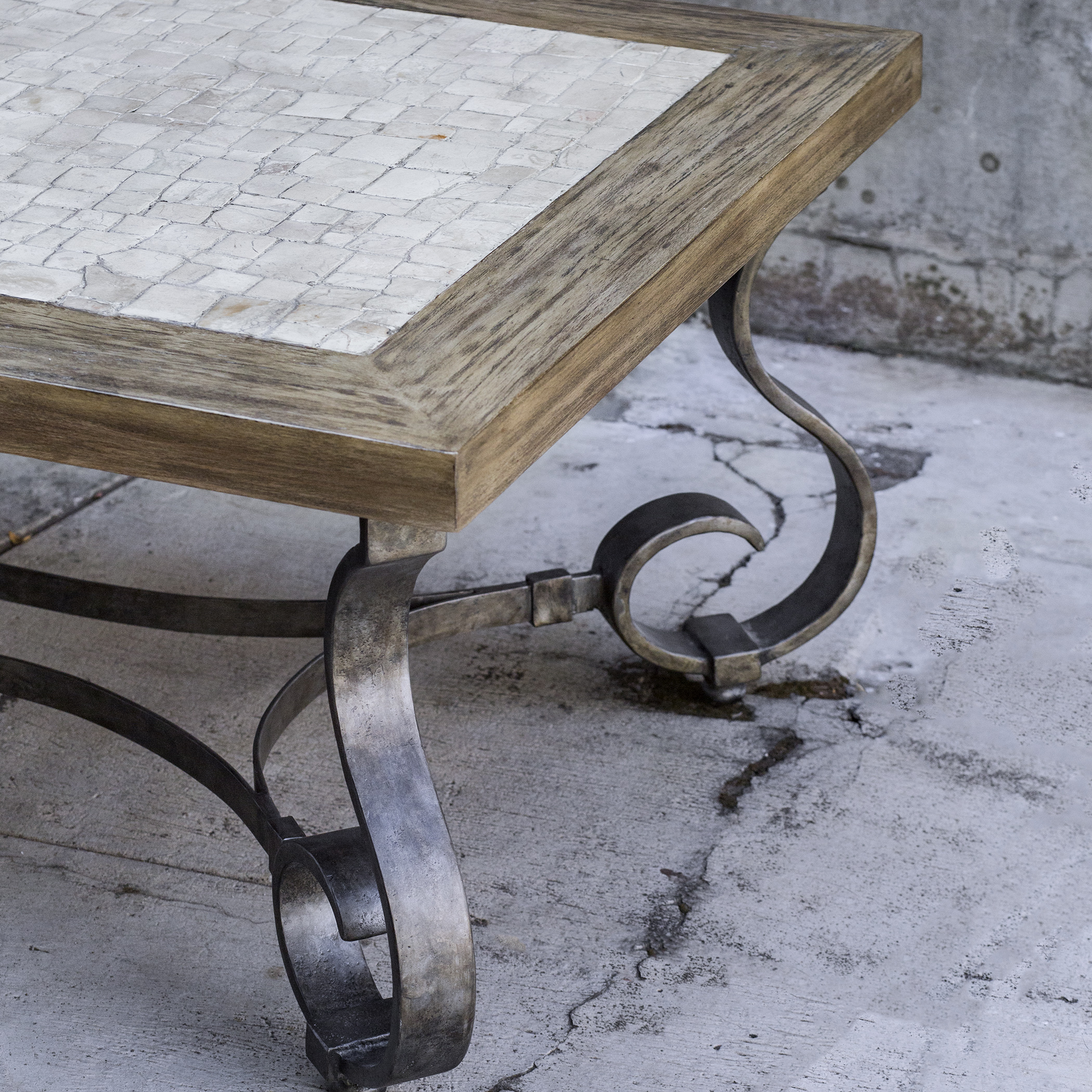 Rustic Scroll: Iron Scroll Leg Rustic Cottage Wood Coffee Table