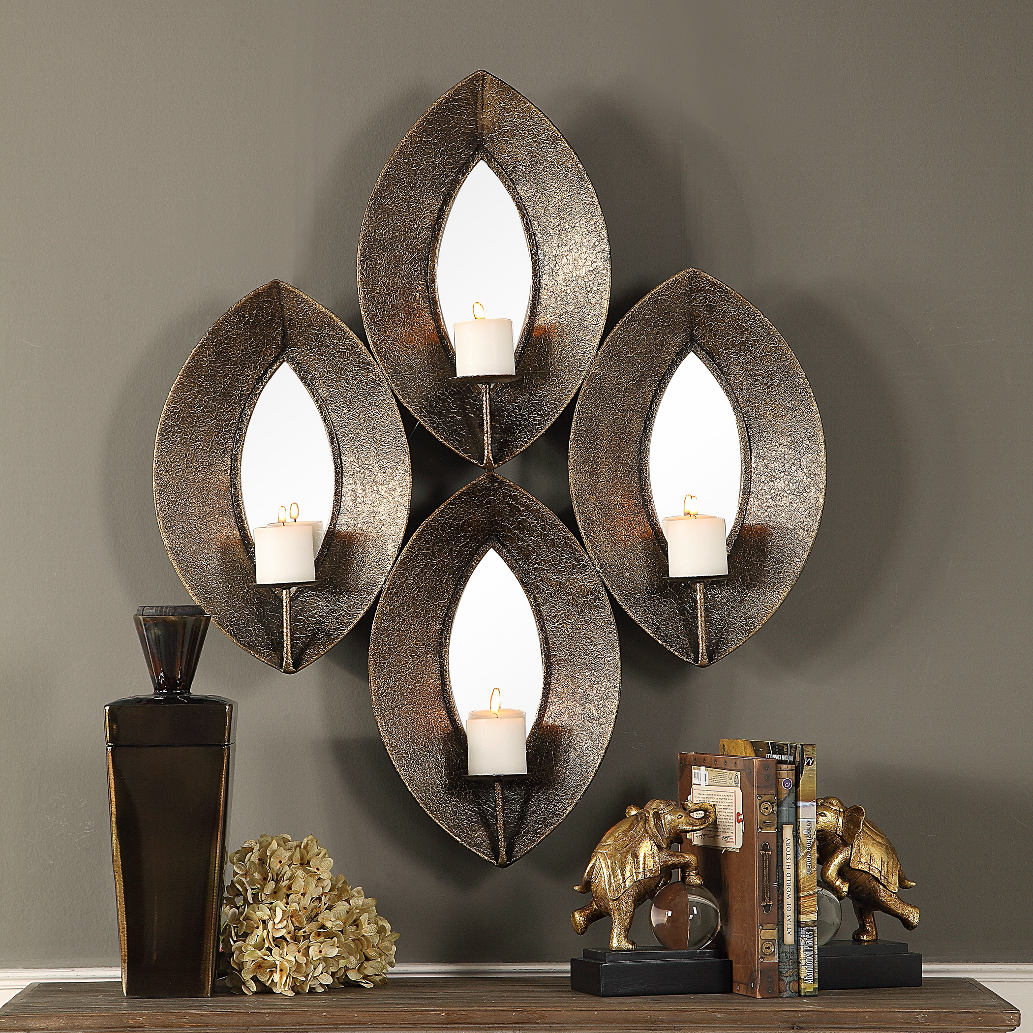 Elegant Bronze Ovals Mirrored Wall Candle Sconce | Multi 4 ...